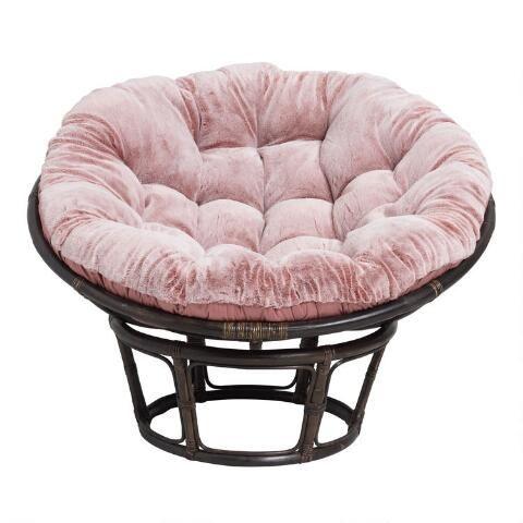 Dusty Rose Faux Fur Papasan Chair Cushion By World Market