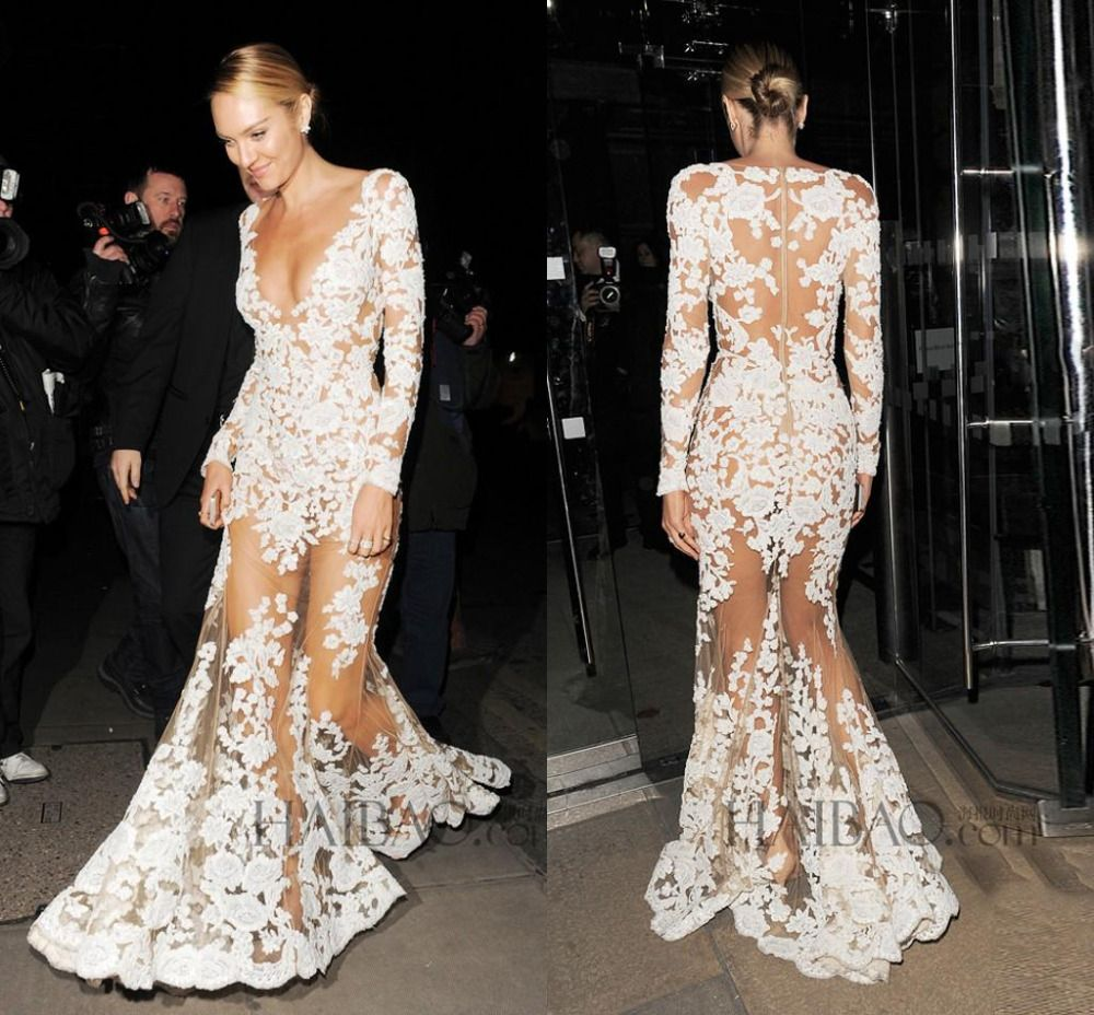 Zuhair Murad Long Evening Dresses for Prom See Through Long Sleeve ...