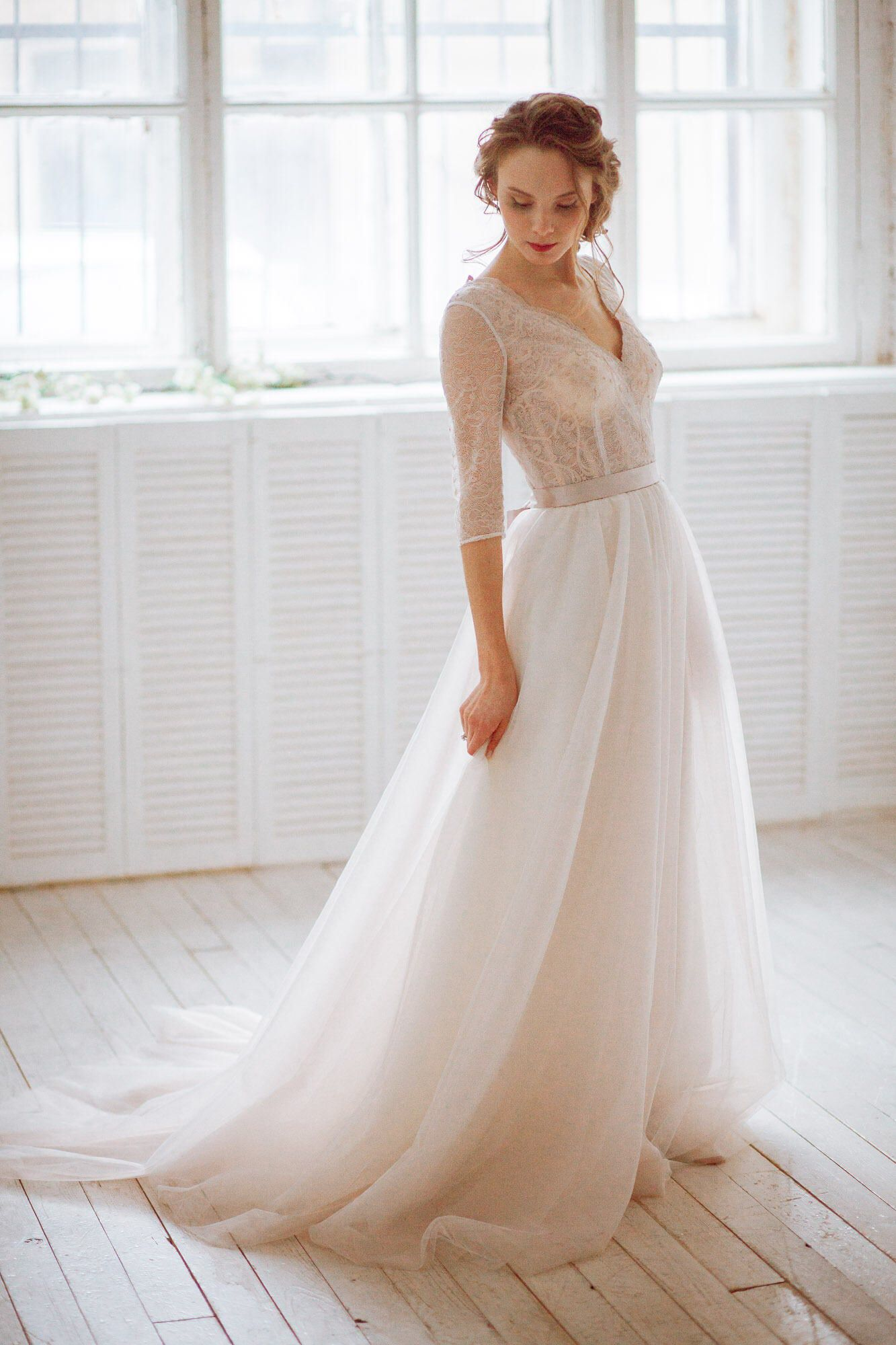 Stella / Vintage natural French lace wedding dress with