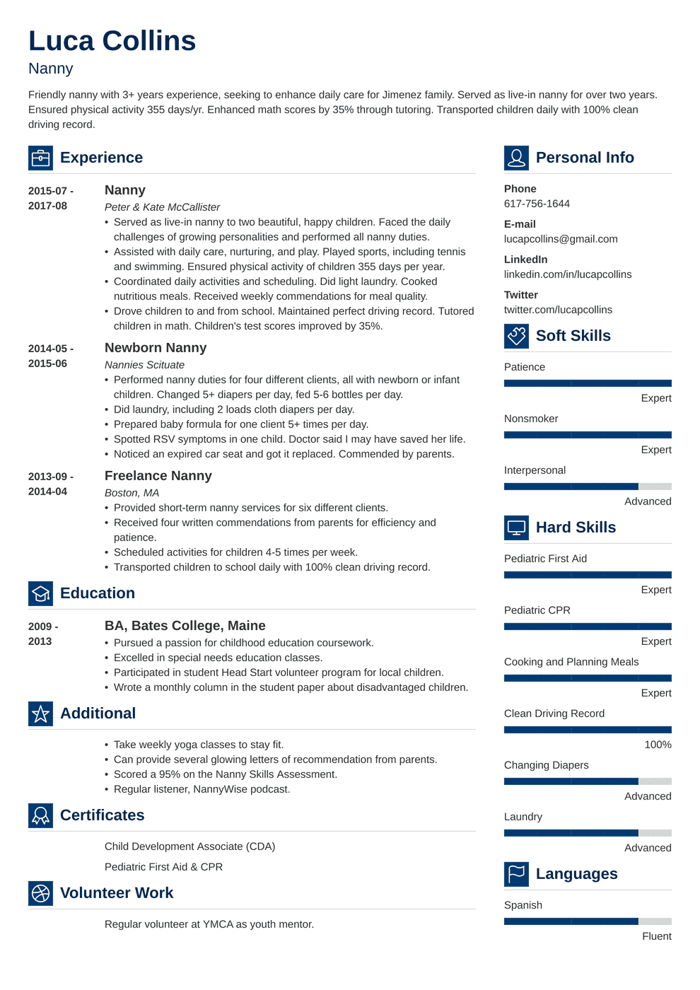 nanny resume template vibes in 2020 Resume examples