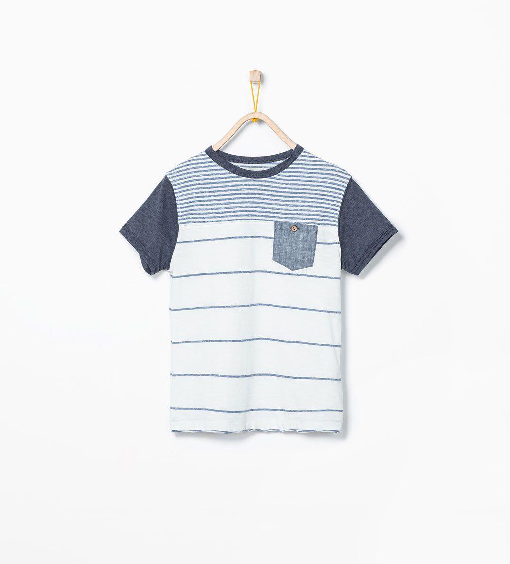 Zara Ninos Camiseta Rayas Contraste Ropa Para Ninos Varones