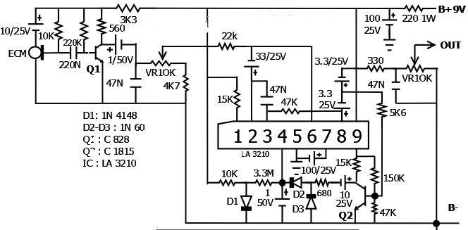 MIC COMPRESSOR AGC IC LA3210 (Kenwood MC85) schema