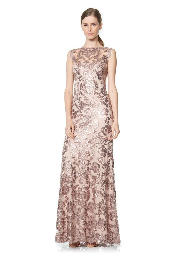 63502990131 Tadashi Shoji Paillette Embroidered Lace Gown  fashion  clothing  shoes   accessories  weddingformaloccasion  bridesmaiddresses (ebay link)