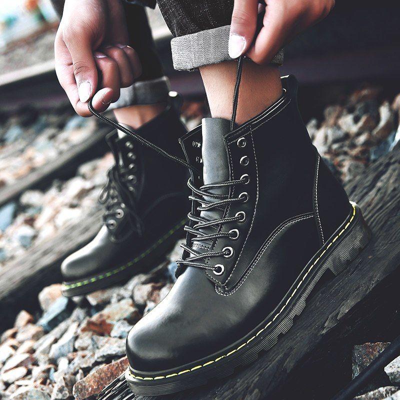 b8c0fe27fb6 Men Winter Martin Boots Shoes Solid Color Fur Snow Boots Men's Warm ...