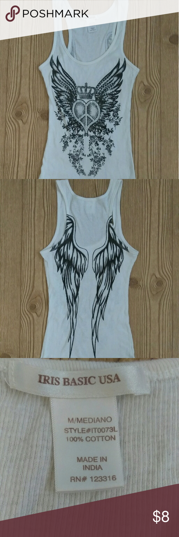 01256398966f9 💥tank top wife beater angel wings size medium white tank top heart png  580x1740 White