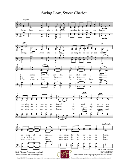 Swing low sweet chariot lyrics gospel