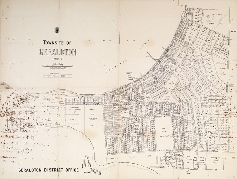 Geraldton 1914 Cadastral Map Showing Land Use And Zoning Sheet 2