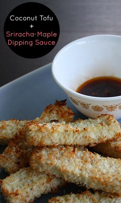 Coconut Tofu with Maple-Sriracha Dipping Sauce