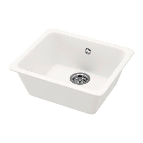 DOMSJÖ Lavello da incasso, 1 vasca, bianco