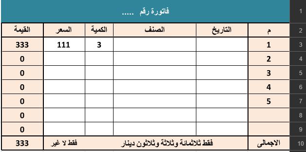 نموذج اكسيل فاتورة وسند استلام مع تفقيط الارقام Al Mo7aseb Blog Posts Post Blog