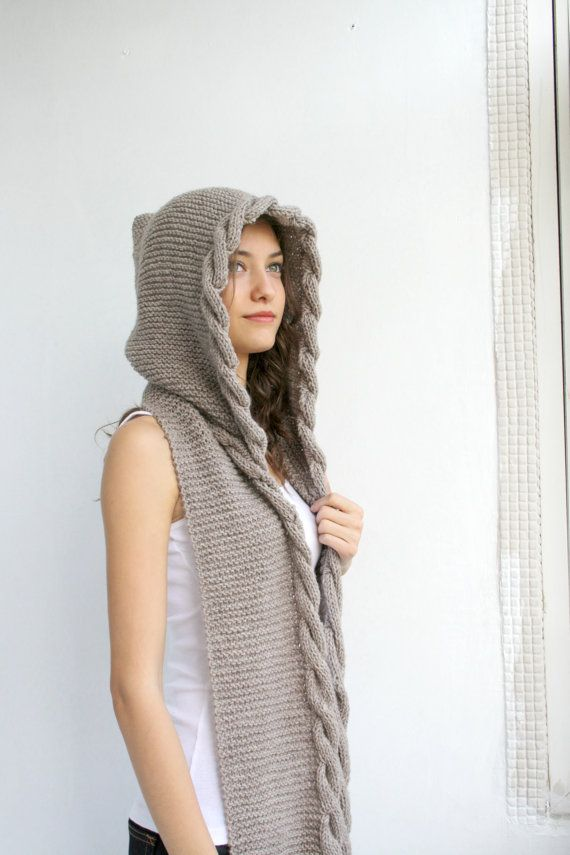 Handmade Lightweight Knitted Brown Hooded Wool Scarf, Cable Long Hoodie Scarves, Knitted Scarf, Outdoors Gift, Mothers, Gift forWomen,