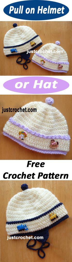 Pull hat or helmet free baby crochet pattern. #crochet | Projects to ...
