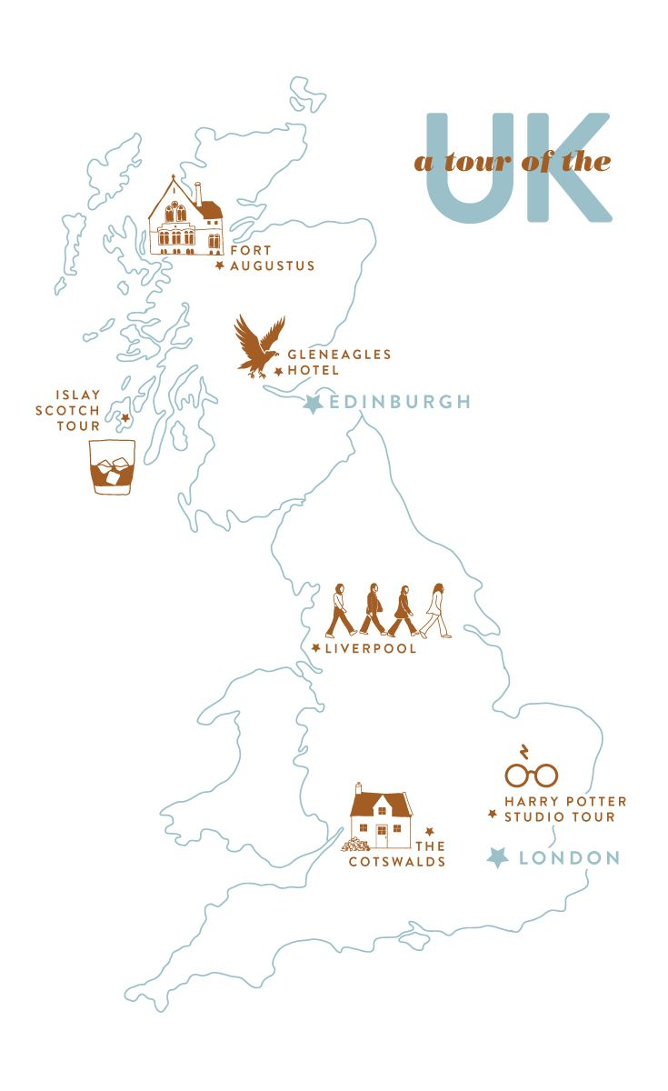 Worksheet. An illustrated map of an upcoming trip to the UK Let us