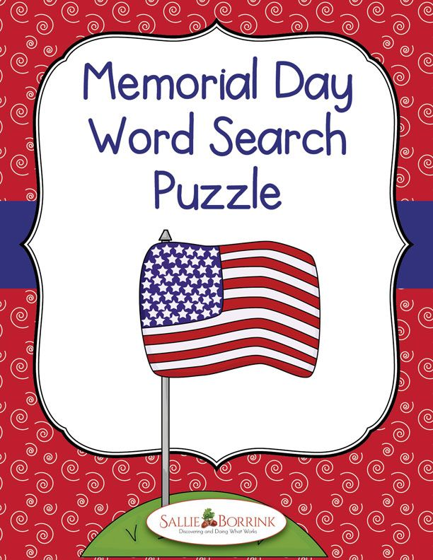 Memorial Day Word Search Puzzle | Memorial day activities ...