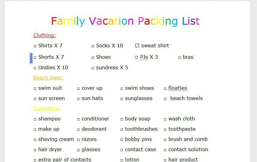 Boy, Oh, Boy, Oh Boy! Family Vacation Packing List Summertime - summer vacation checklist