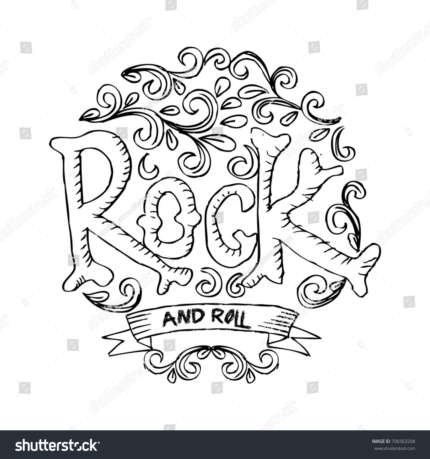 Rock and Roll lettering. | Colorear | Pinterest | Colorear