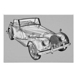 Morgan Plus Sports Car Illustration Poster CARS - Sports cars posters