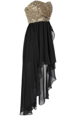 Black Gold Sequin High Low Dress | lace/high low | Pinterest ...