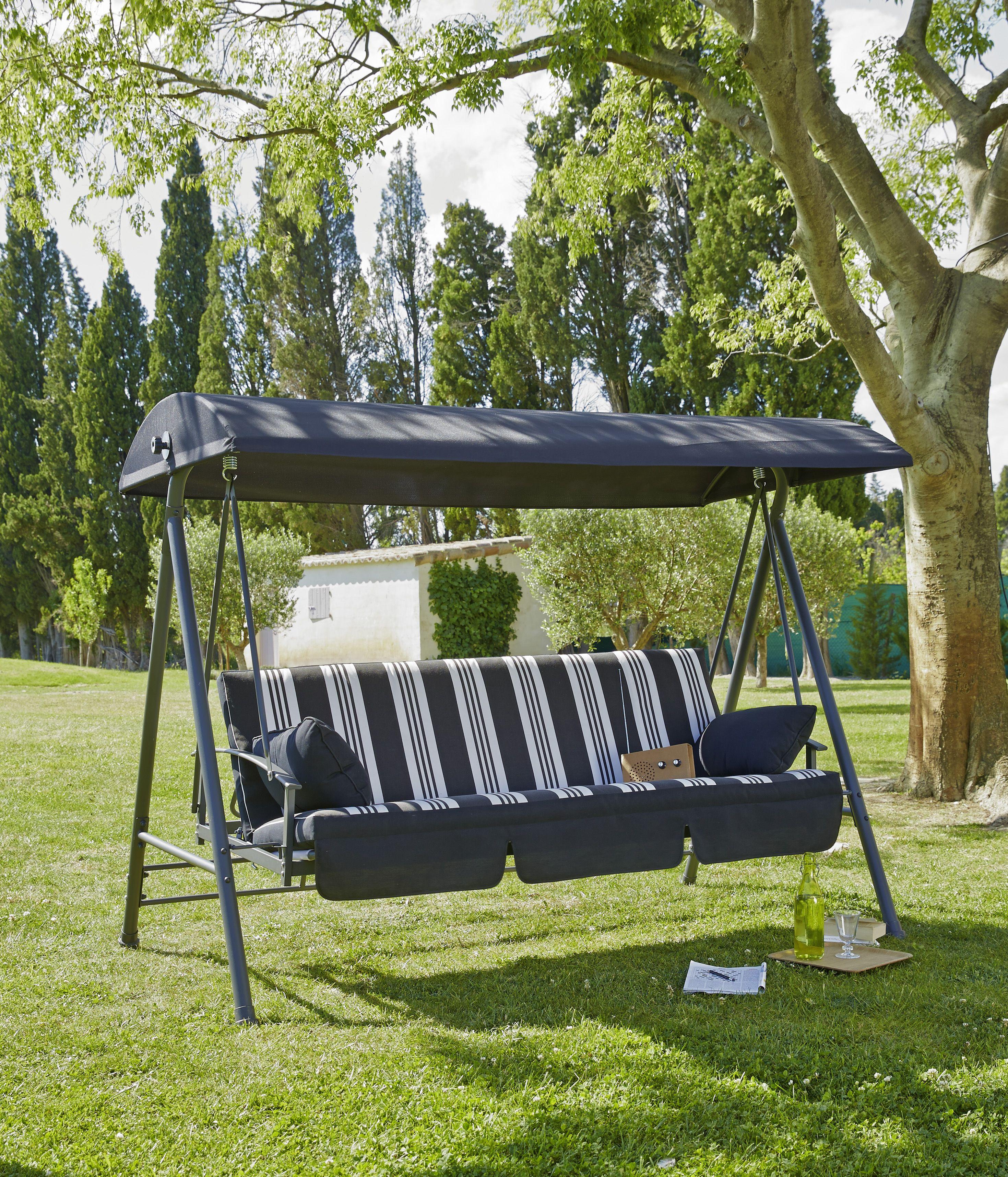 balancelle lit 3 places structure en acier avec balancelle en textil ne avec coussin en. Black Bedroom Furniture Sets. Home Design Ideas