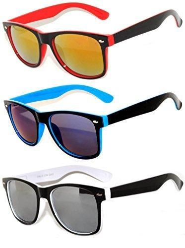 6f344a2545f 3 Pack Classic Retro Vintage Two -Tone Owl Colorful Mirror Lens Sunglasses  OWL .