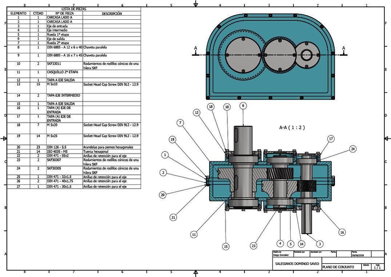 Plano De Conjunto Y Listado De Materiales Caja Reductora De Velocidad Realizado En Inventor