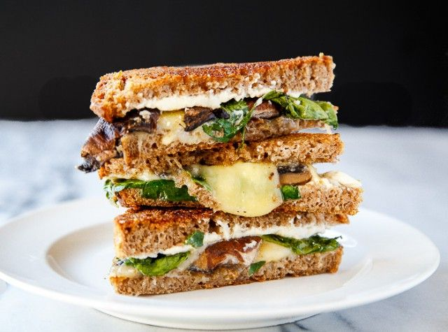 With Mushrooms, spinach, parsley and cheese this grilled sandwich will hit the spot any time of day.