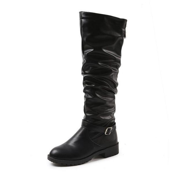 Womens Fashion Leather Long Boots Ladies Knee High Boots Martin Boots High Boots Plus Size 3543Please Choose One Size Bigger Than Usual  Wish  Knee High Boots Plus Size l...