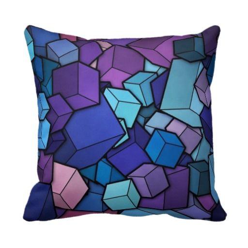 Purple Cubes Throw Pillow