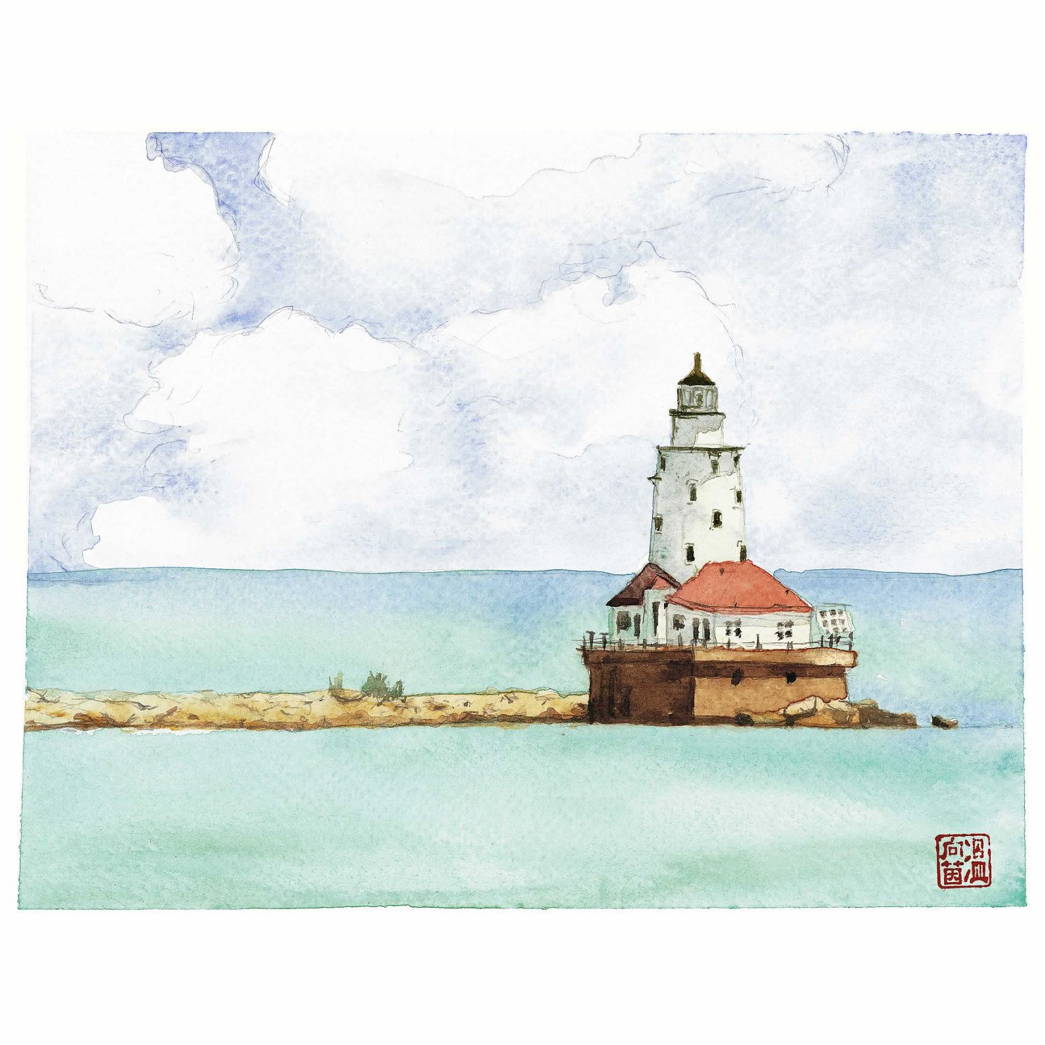 Fine watercolor art for sale - Fine Art Giclee Print Of Watercolor Lighthouse Seaside Painting