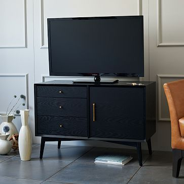 Media Console Instead Of A Traditional Dresser In The