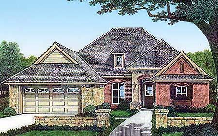 Plan 48455FM Small and Stylish – French Country House Plans Open Floor Plan