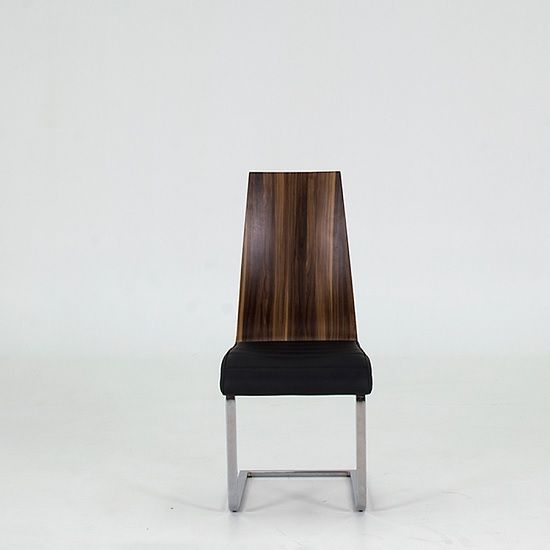 Elora Modern Dining Chair In Black Faux Leather And Walnut With