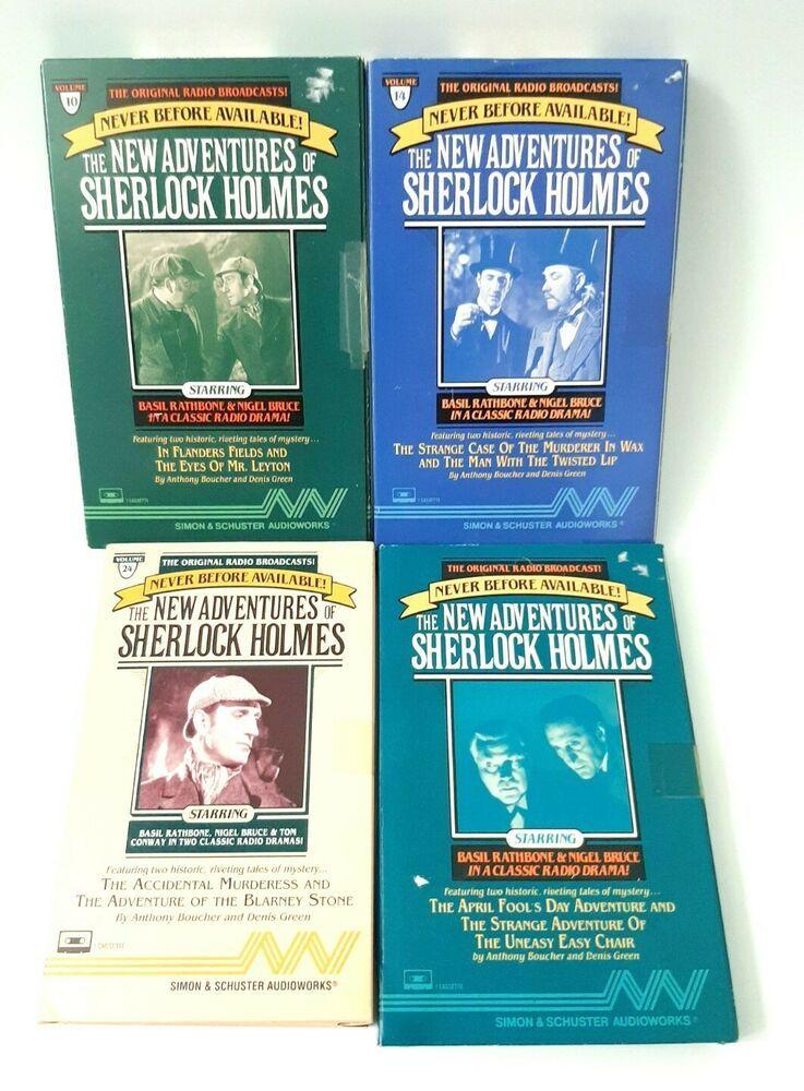 Vintage Lot Of 4 New Adventures Sherlock Holmes Audio Cassette Books 1990 Radio In 2020 Audio Cassette Sherlock Holmes Audio Books