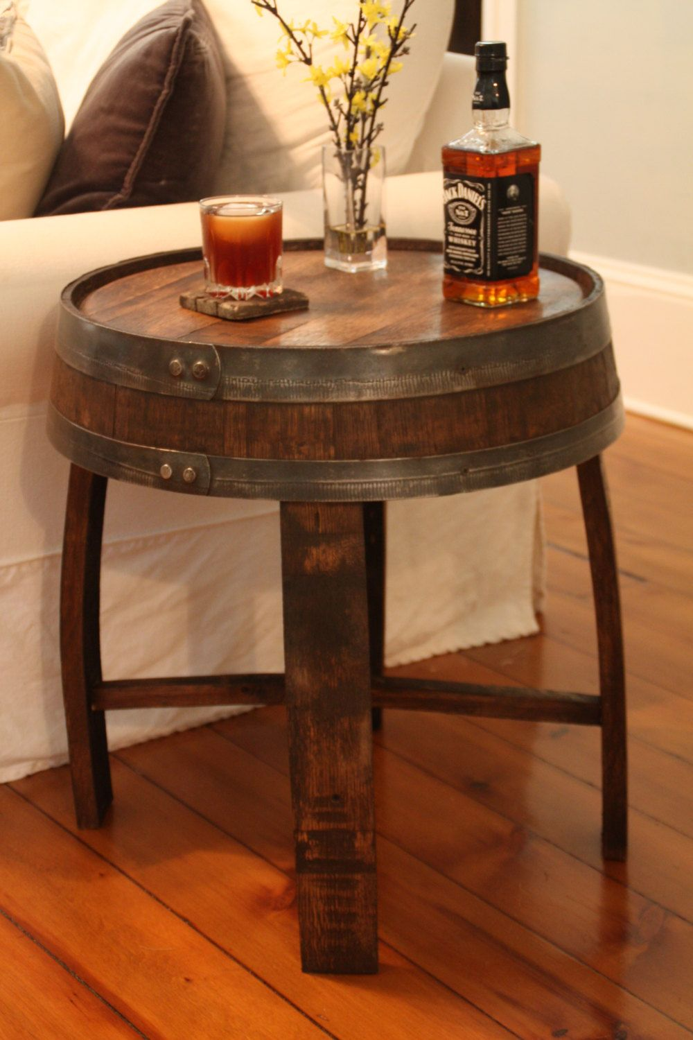 Handcrafted Oak Whiskey Barrel End Table By BarnWorksDesigns On Etsy