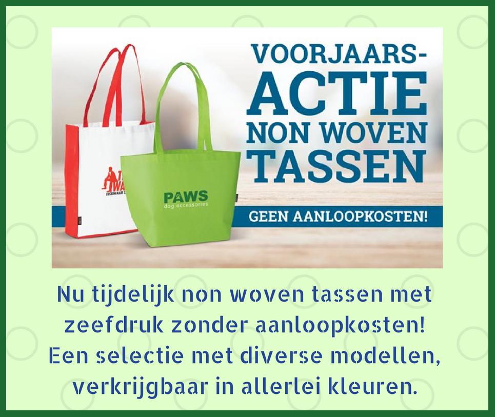 Breng uw boodschap over met deze ideale reclamedragers. De tassen zijn herbruikbaar en kunnen makkelijk worden meegenomen voor de dagelijkse boodschappen of een dagje winkelen. Deze actie loopt tot en met 14 april 2017.