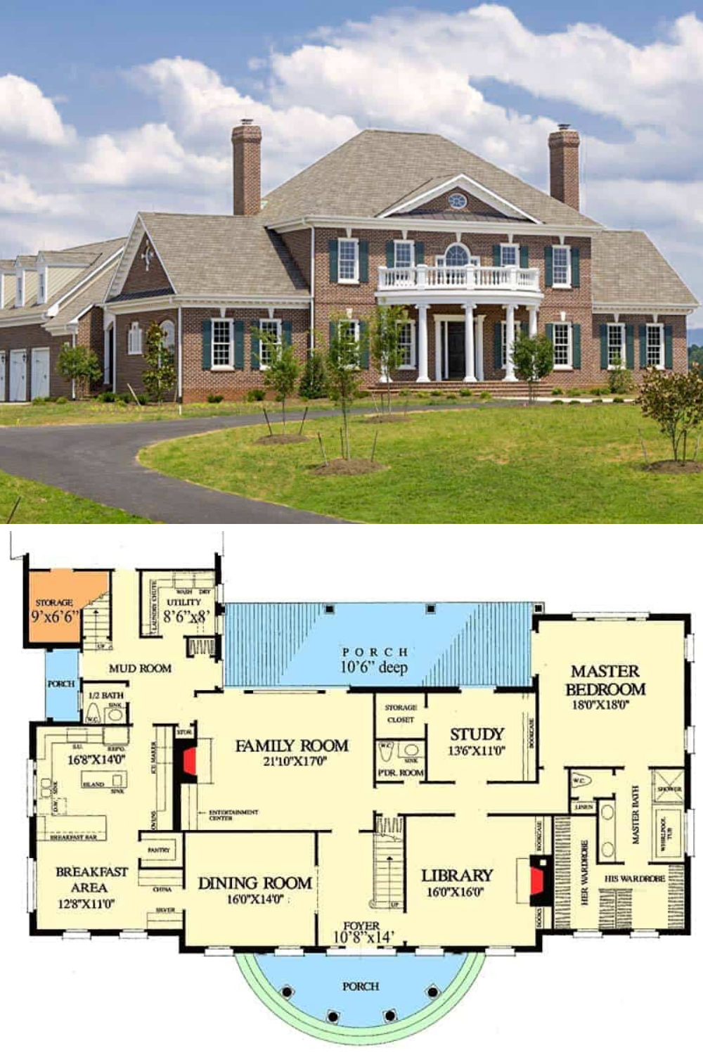 4 Bedroom Two Story Luxury Georgian Home Floor Plan Georgian Homes House Floor Plans Mansion Floor Plan
