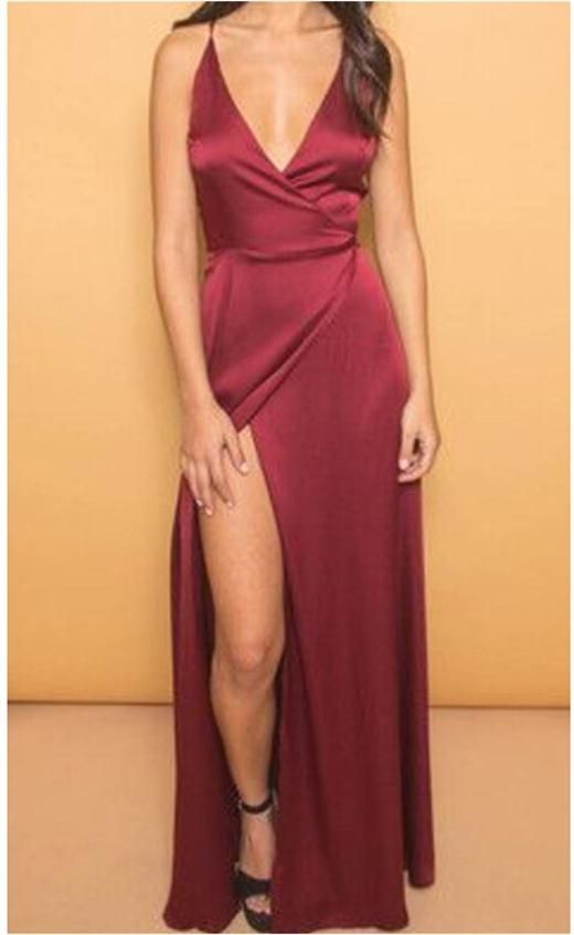 36cb1ddd84 Deep V Neck Slit Prom Dresses Sexy Spaghettis Evening Gowns