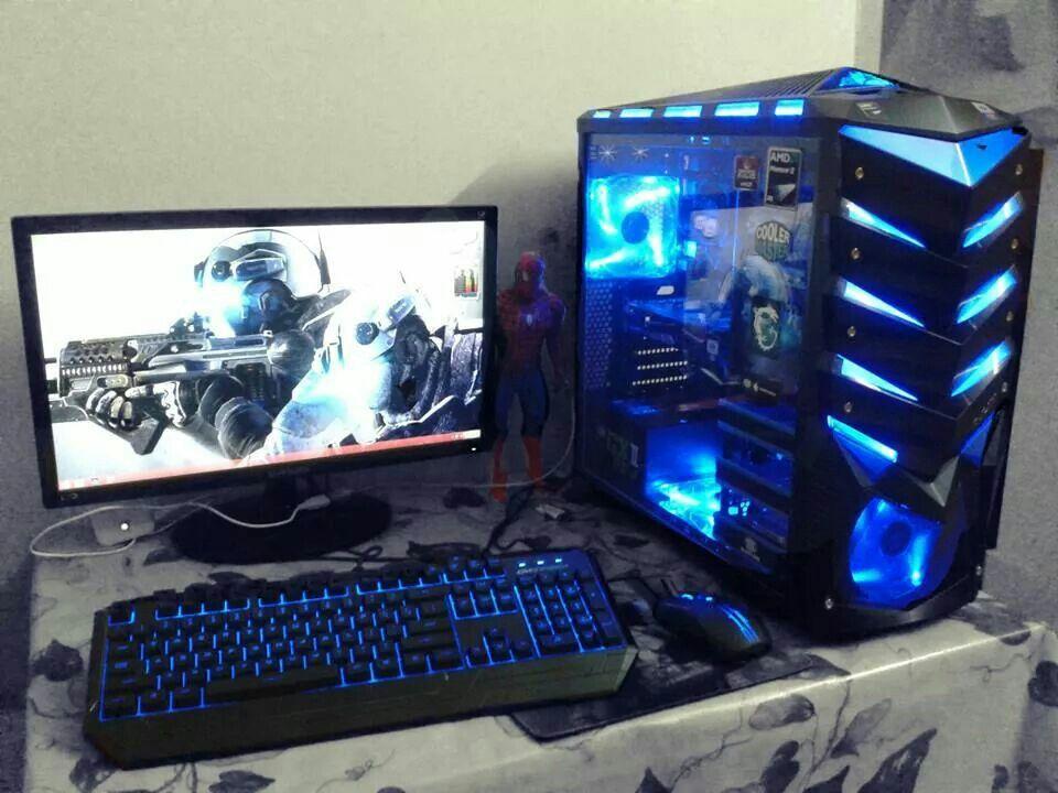 Computer Pc Mod Modification Setup Gaming Computer Rig Tower Blue Computer Desk Setup Best Gaming Setup Computer Setup