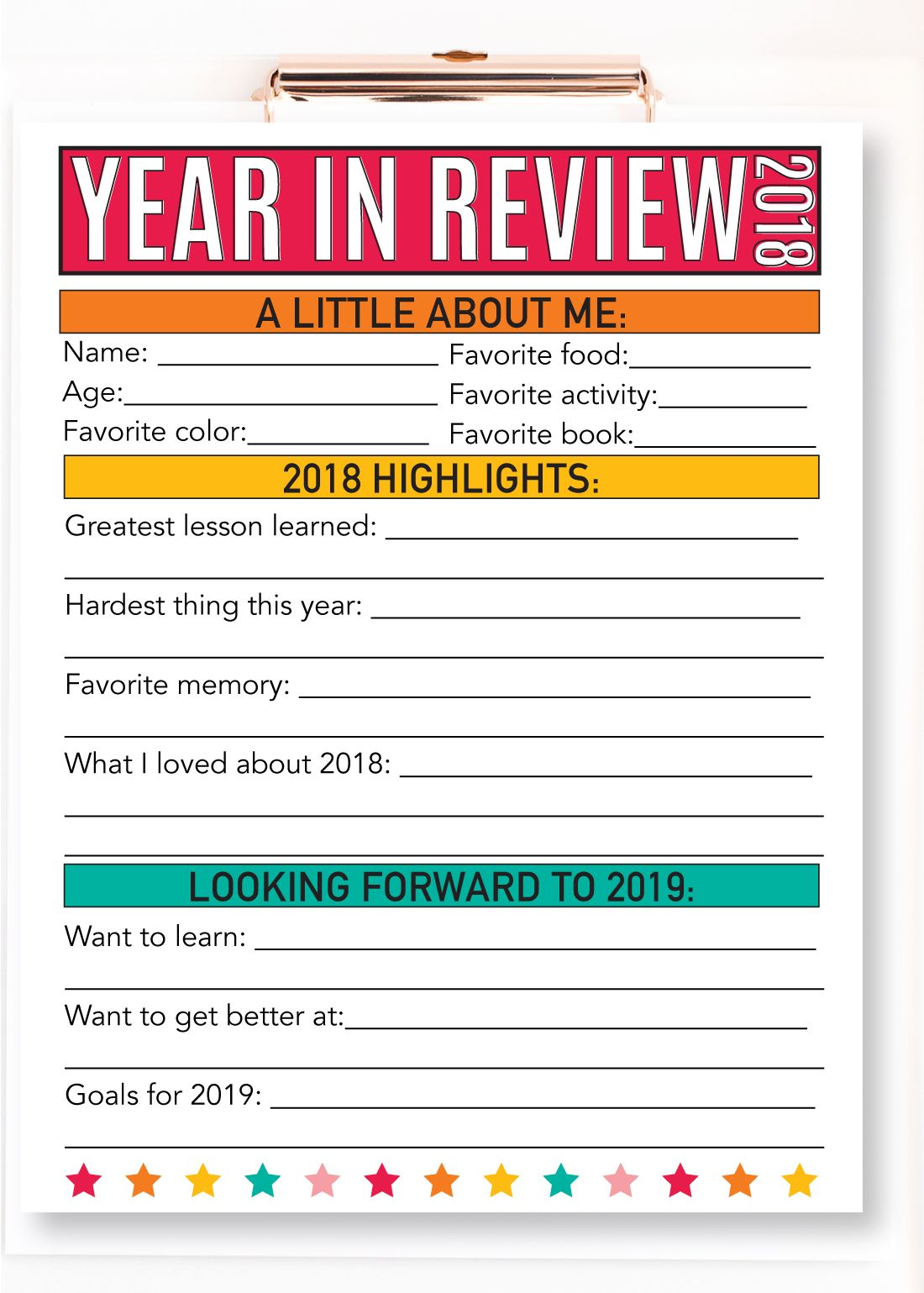 PRINTABLE NEW YEAR'S RESOLUTION FOR KIDS 2019 Kids new