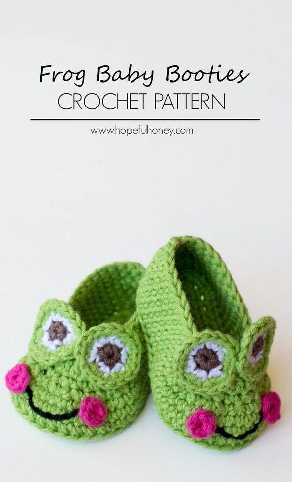 Frog Baby Booties Crochet Pattern | Tejido, Zapatos y Bebe
