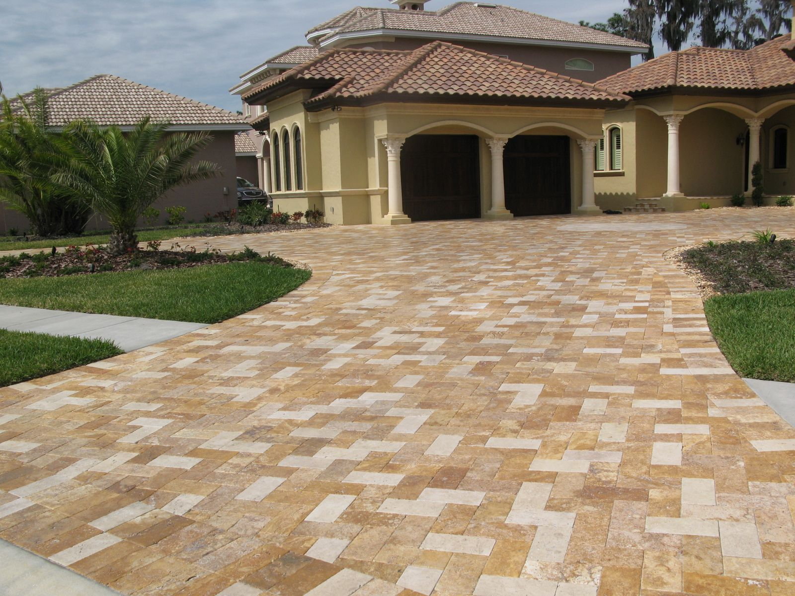 stamped concrete driveways ideas for front house