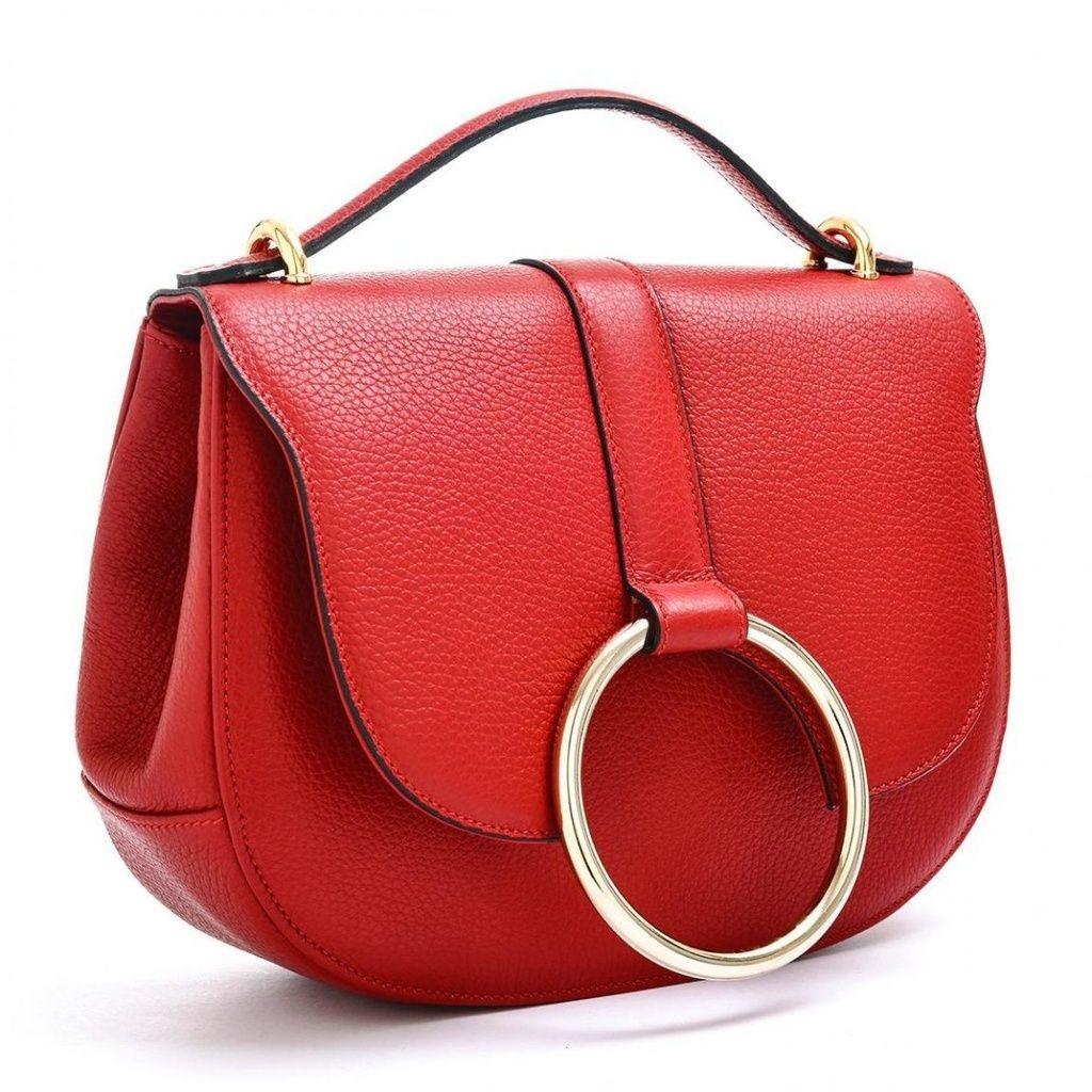 43f956d762 Bazaar Bridge Cherry Red Italian Calfskin Pebbled Leather Handbag ...