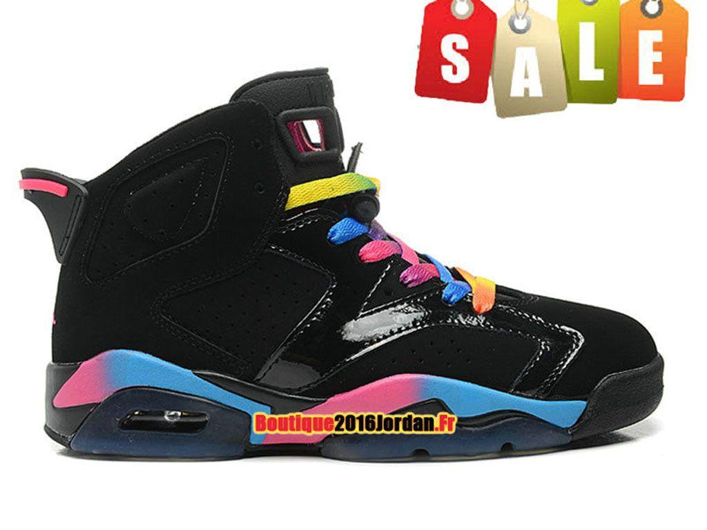 wholesale dealer ff853 06301 Air Jordan 6VI Retro - Baskets Jordan Pas Cher Chaussure Nike Pour  FemmeFille NoirRoseJaune 543390-050