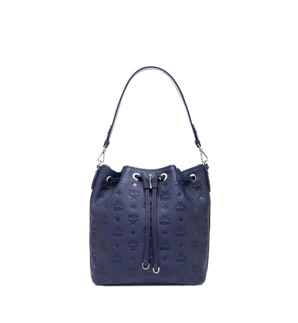 MCM Damen Tasche Essential Leather SML Navy Blue