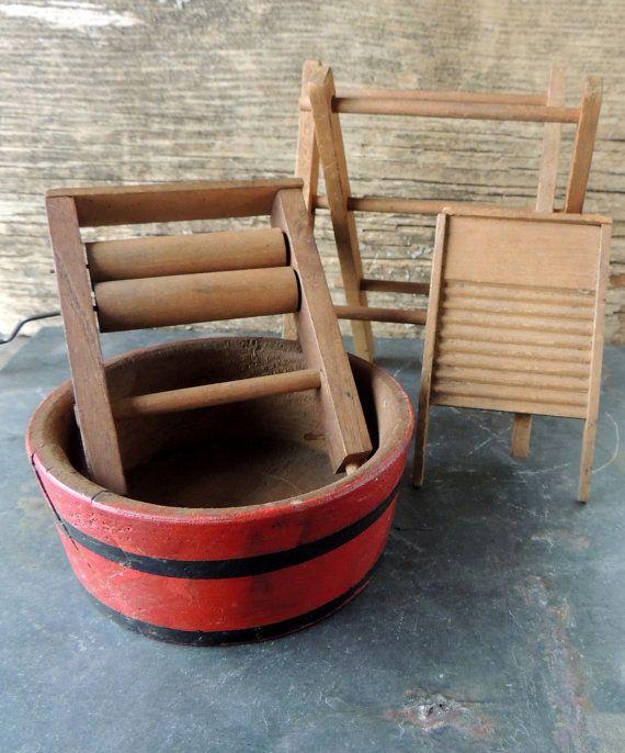 Antique Childrens Toys Wooden Laundry Set Wash Tub