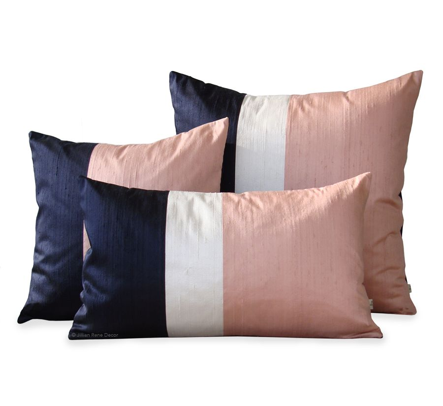Silk Colorblock Pillow Set of 3 - Blush and Navy — Jillian Rene ...