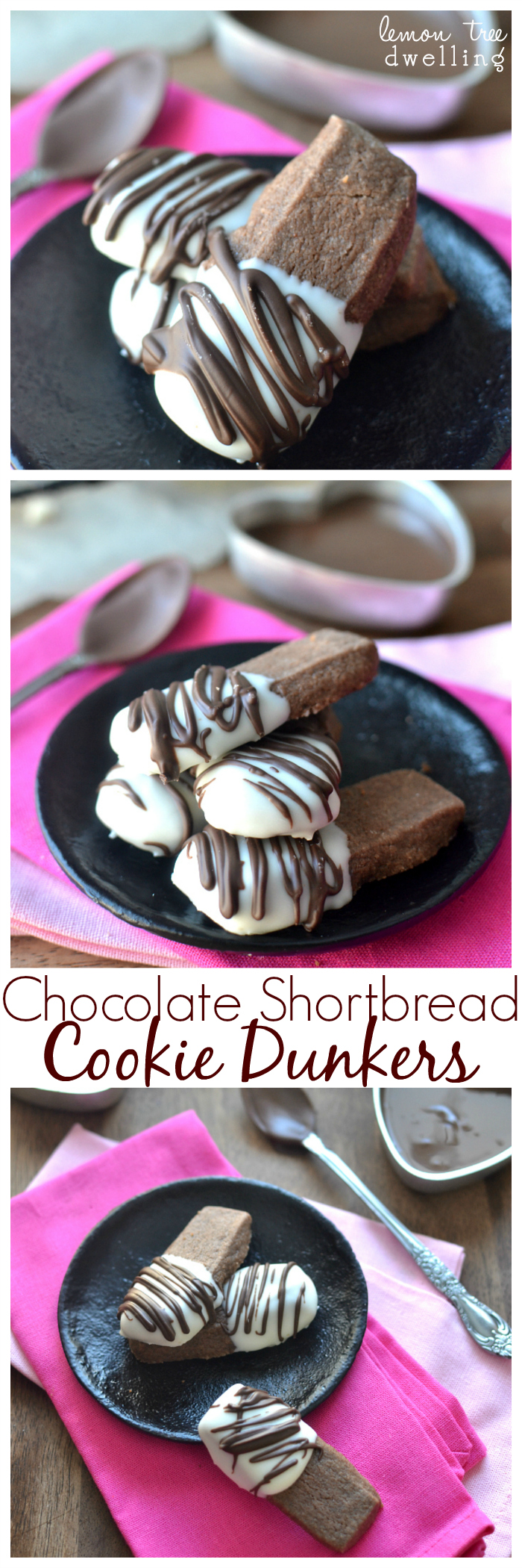 Chocolate Shortbread Cookie Dunkers. These would make a great Valentine's Day gift!!