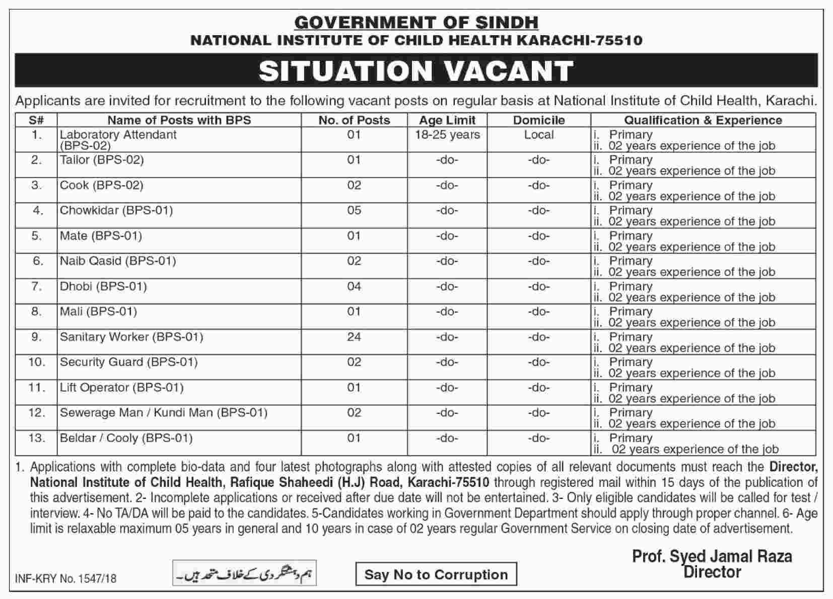 National Institute of Child Health Karachi 47 jobs 22