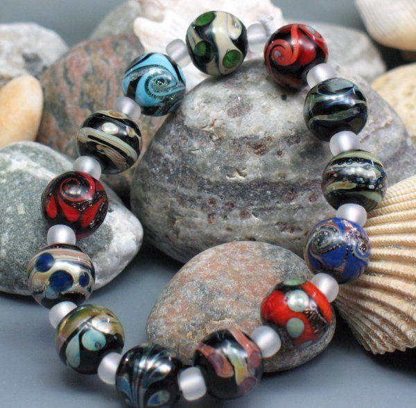 SJC Lampwork 13 handmade silver glass & dichroic round beads ~SRA~ USA~ #SJCLampwork #Lampwork