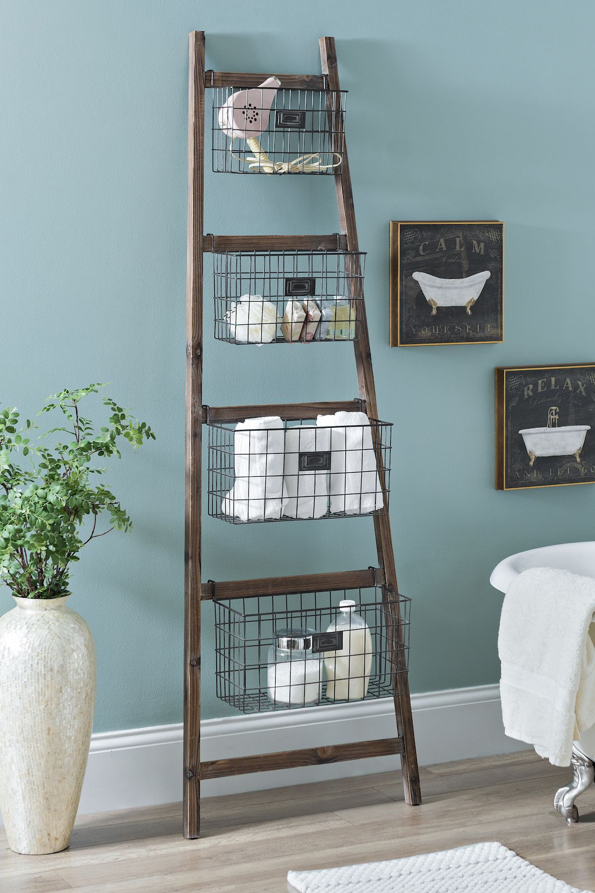 Tapered Wooden Ladder Basket Shelf | Ladder storage, Storage and House